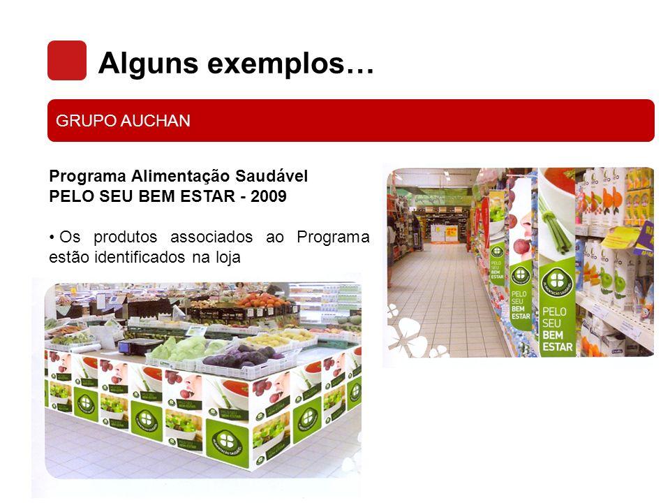 Alguns exemplos… GRUPO AUCHAN Programa Alimentação Saudável PELO SEU BEM ESTAR - 2009 Folhetos informativos sobre os 4 temas: Fibras, Gorduras, Açúcares, Sal.
