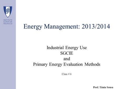 Energy Management: 2013/2014 Industrial Energy Use SGCIE and Primary Energy Evaluation Methods Class # 6 Prof. Tânia Sousa