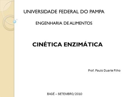 CINÉTICA ENZIMÁTICA UNIVERSIDADE FEDERAL DO PAMPA