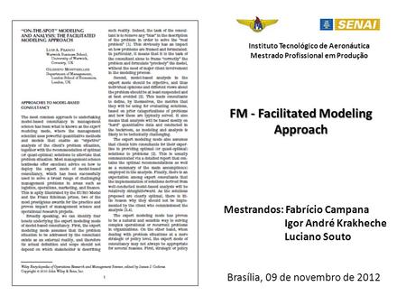 FM - Facilitated Modeling Approach