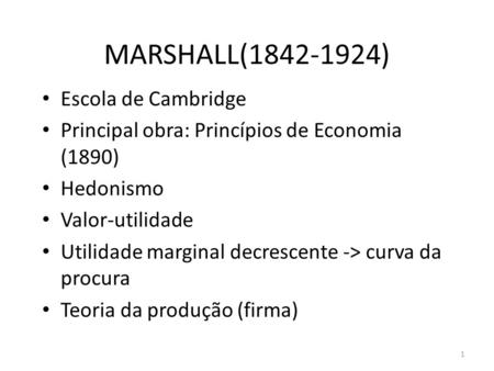 MARSHALL( ) Escola de Cambridge