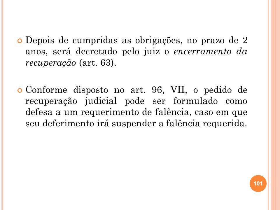 2.23 CONVOLAÇÃO DA RECUPERAÇÃO EM FALÊNCIA Pode ocorrer a decretação de falência, no processo de recuperação judicial, nos seguintes casos (art.