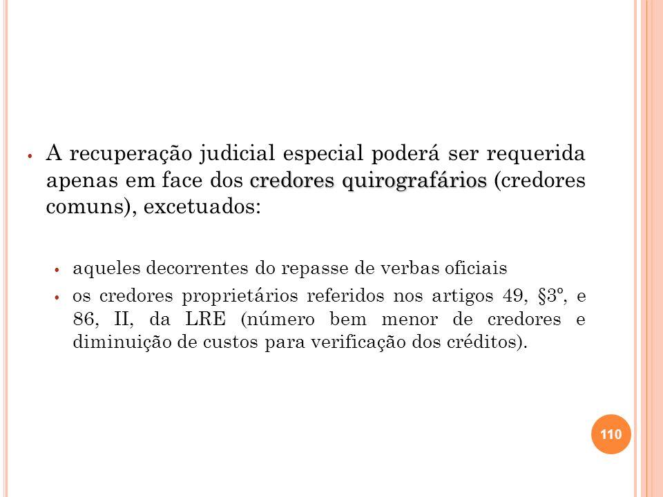 111 excluídos os credores São excluídos os credores decorrentes de repasse de verbas oficiais (exemplo: financiamento do BNDES ou de agências de fomento), pela natureza pública do dinheiro, que impede a negociação (art.