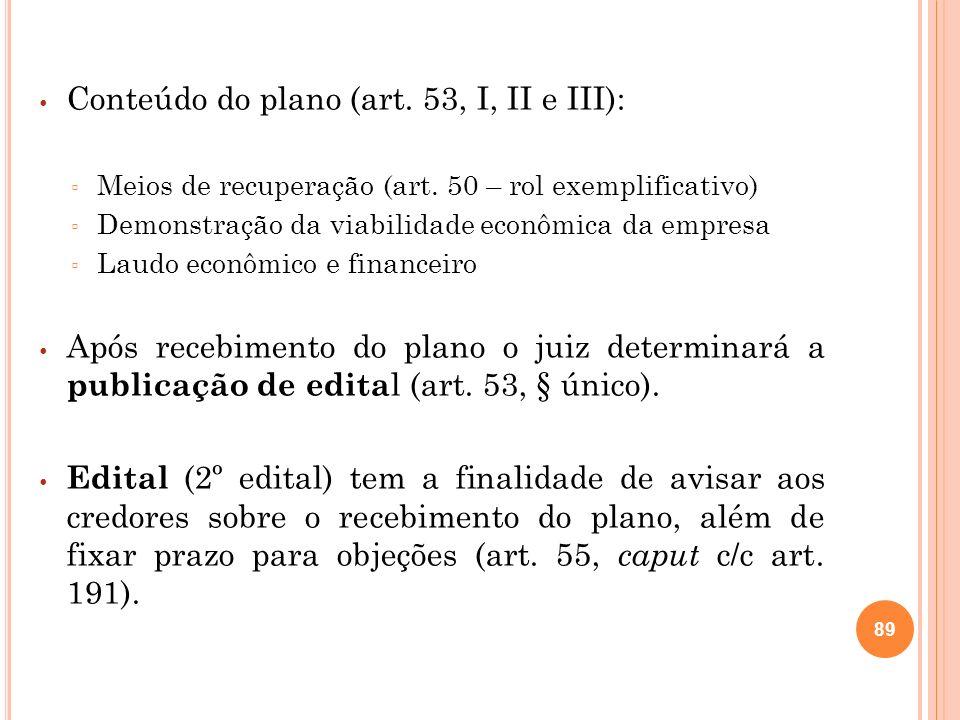 Prazo de objeção ao plano: 30 dias (contados da publicação da relação de credores elaborada pelo administrador judicial ou da publicação do edital sobre o recebimento do plano, o que ocorrer por último – art.