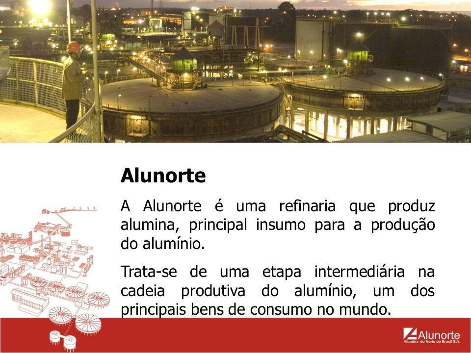 Alunorte A Alumina é produzida a partir da bauxita, pelo processo Bayer.