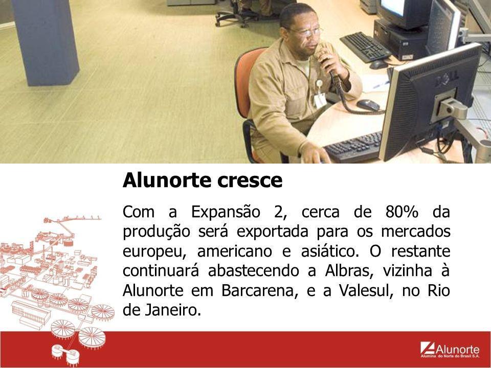 Alunorte cresce A empresa tem como acionistas a Companhia Vale do Rio Doce, a Norsk Hydro (Noruega), a Companhia Brasileira de Alumínio (CBA), NAAC, JAIC, Mitsui e Mitsubishi (Japão).