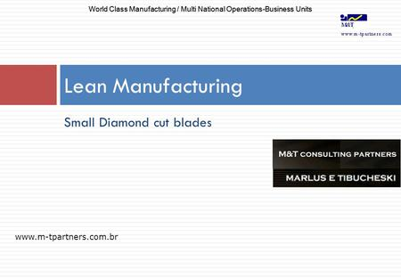 Small Diamond cut blades Lean Manufacturing www.m-tpartners.com.br World Class Manufacturing / Multi National Operations-Business Units.