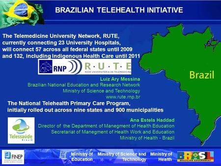 Ministry of Health Ministry of Science and Technology Ministry of Education BRAZILIAN TELEHEALTH INITIATIVE The National Telehealth Primary Care Program,