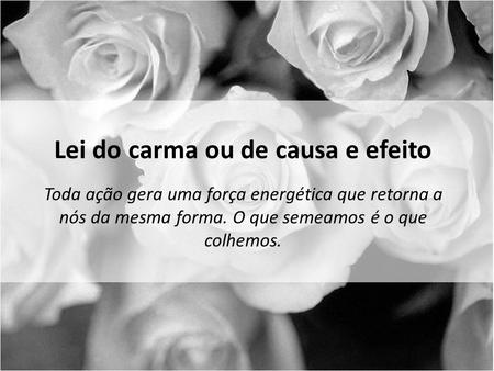 Lei do carma ou de causa e efeito