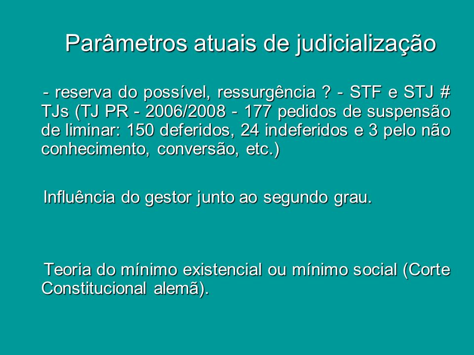 Parâmetros atuais de judicialização Parâmetros atuais de judicialização v) Judiciário e MP assumem o papel de gestores nas omissões prestacionais do Sistema.