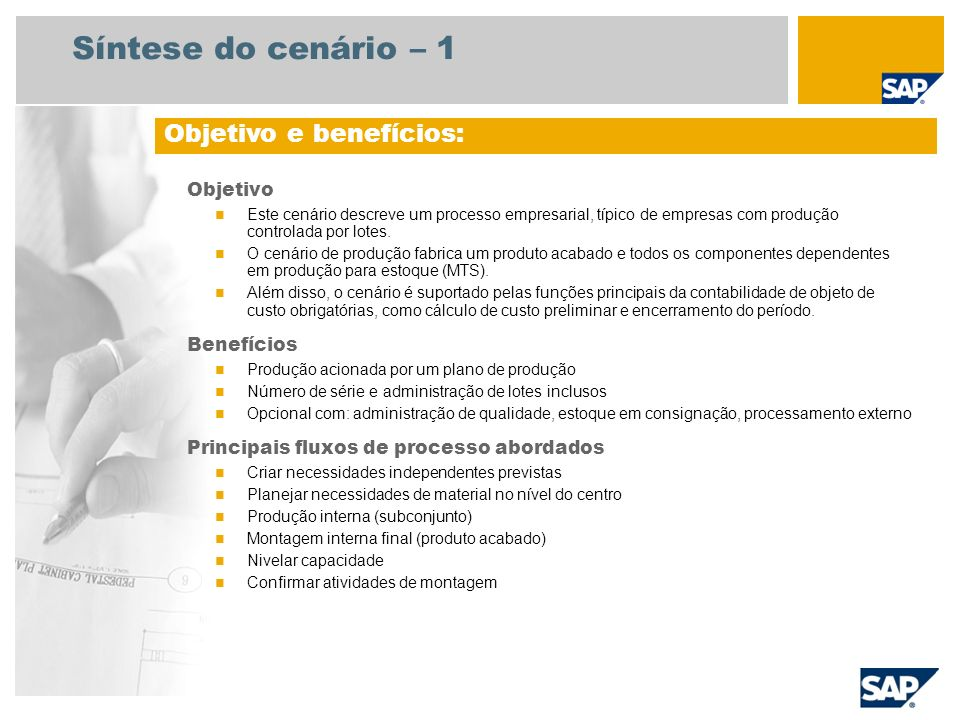 Síntese do cenário – 2 Necessário SAP enhancement package 4 para SAP ERP 6.0 Funções da empresa envolvidas nos fluxos do processo Planejador da produção Supervisor de produção Especialista da área de produção Encarregado do depósito Planejador estratégico Especialista de engenharia Aplicativos SAP necessários: