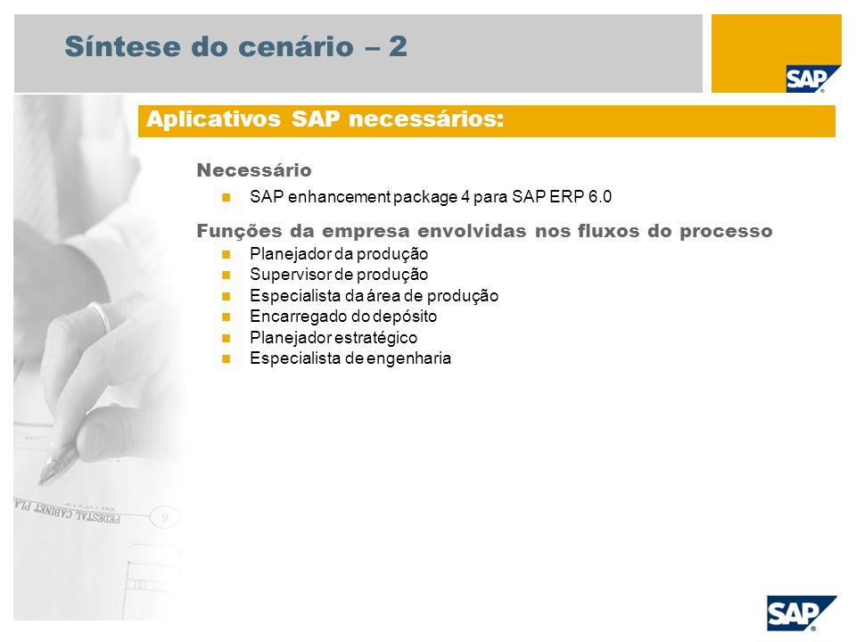 Síntese do cenário – 3 Produção para estoque – Manufatura discreta Este cenário descreve um processo empresarial, típico de empresas com produção controlada por lotes.