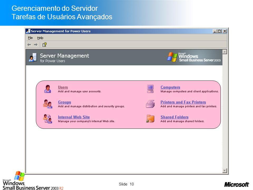 Slide 11 Gerenciamento do Servidor Backup