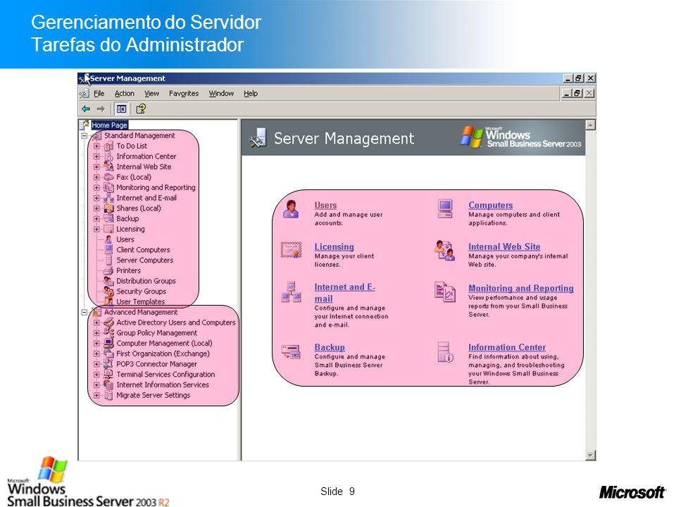 Slide 10 Gerenciamento do Servidor Tarefas de Usuários Avançados
