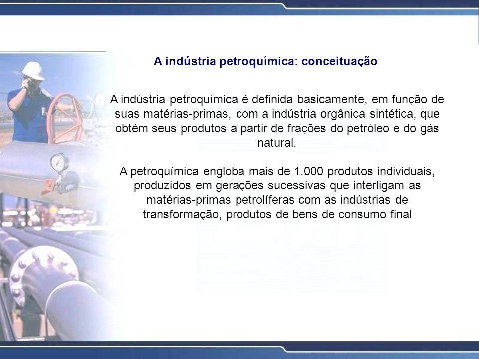 Podem ser distinguidos três gerações industriais na cadeia produtiva da atividade petroquímica: Indústrias de 1ª geração Fornecem os insumos petroquímicos brutos, tais como eteno, propeno, butadieno, etc; Indústrias de 2ª geração Transformam os insumos petroquímicos brutos nos chamados insumos petroquímicos finais, como polivinilcloreto (PVC), poliésteres, óxido de etileno, resinas poliéster, etc; Indústrias de 3ª geração Transformam os insumos petroquímicos finais em produtos quimicamente modificados que serão fornecidos como produtos de consumo.