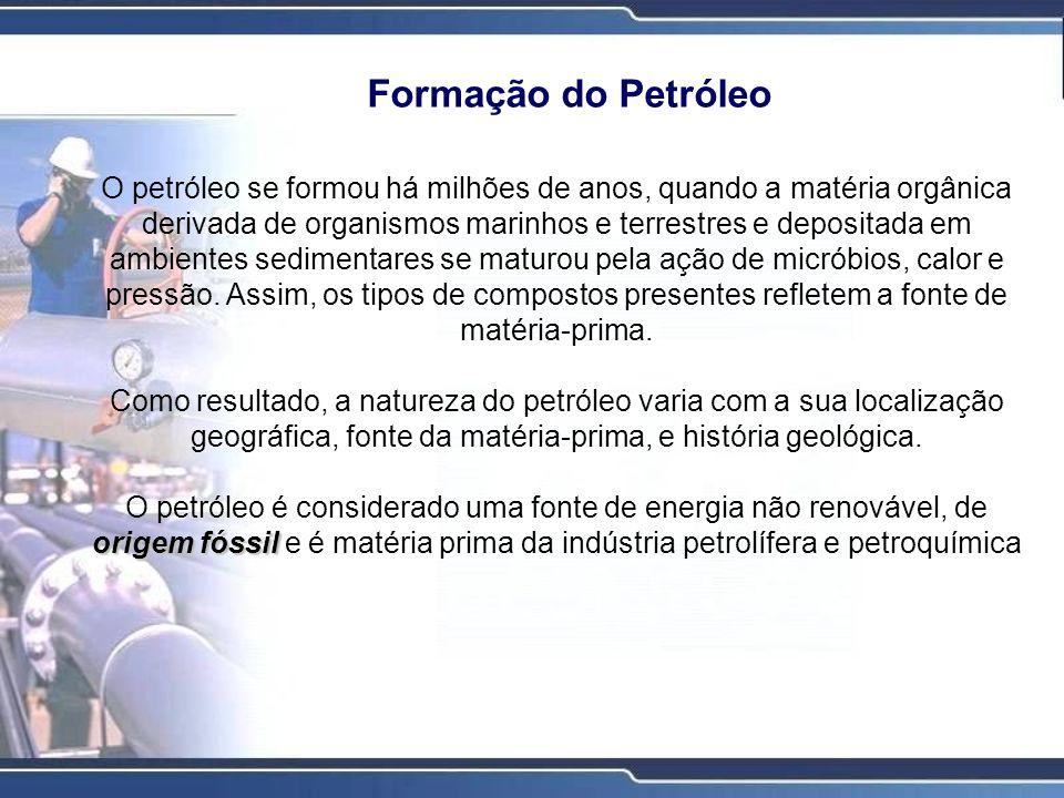 PETRÓLEO BRUTO CONTÉM EM MÉDIA PETRÓLEO BRUTO CONTÉM EM MÉDIA: Carbono - 84% Hidrogênio - 14% Enxofre - de 1 a 3% (sulfeto de hidrogênio, sulfetos, dissulfetos, enxofre elementar) Nitrogênio - menos de 1% (compostos básicos com grupos amina) Oxigênio - menos de 1% (encontrado em compostos orgânicos como o dióxido de carbono, fenóis, cetonas e ácidos carboxílicos) Metais - menos de 1% (níquel, ferro, vanádio, cobre, arsênio) Sais - menos de 1% (cloreto de sódio, cloreto de magnésio, cloreto de cálcio)