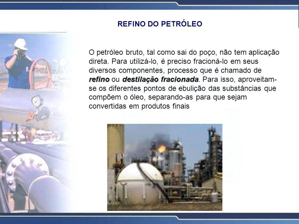 O processo de refino A primeira etapa do refino, consiste na destilação fracionada que é feita na Unidade de Destilação Atmosférica, por onde passa todo o óleo cru a ser refinado.