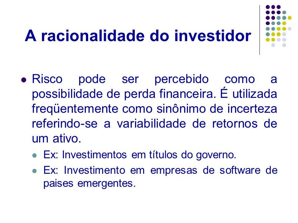 A racionalidade do investidor Retorno: é o ganho ou perda sofrido por um investimento.