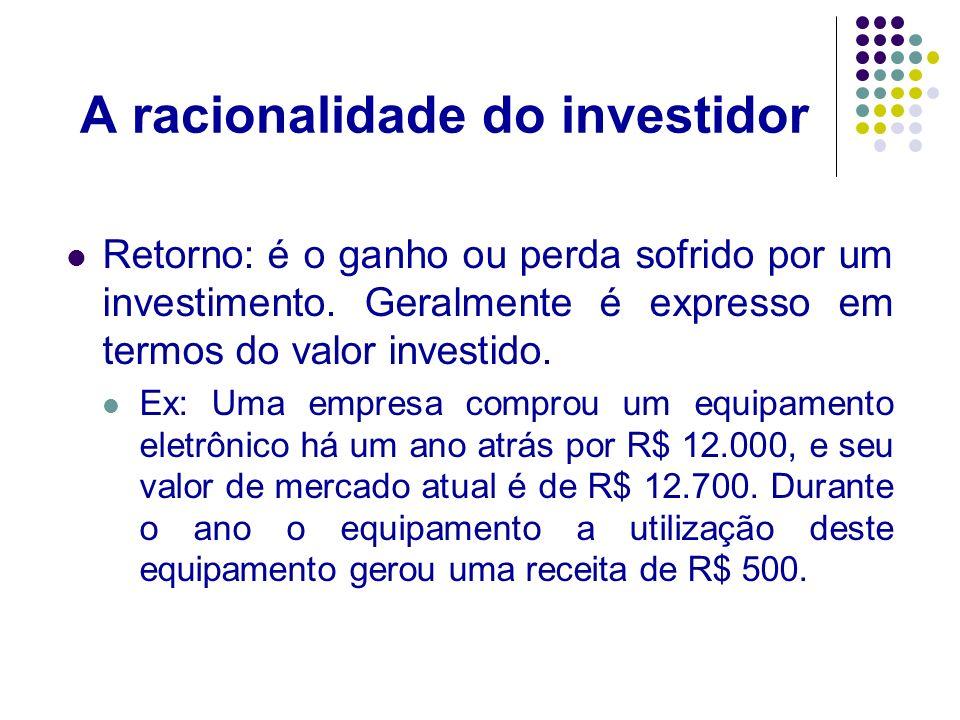 A racionalidade do investidor Deste modo podemos calcular o retorno do investimento nesta máquina através da seguinte expressão : FC = Fluxo de Caixa Recebido período P = Preço Retorno= 500 + 12.700-12.000 = 0,10 ou 10% 12.000