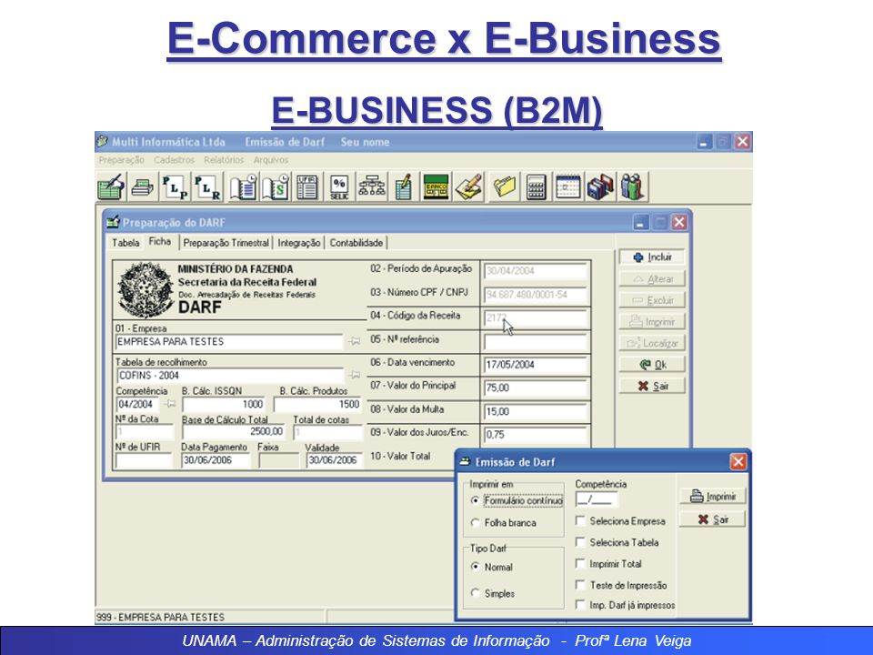 E-Commerce x E-Business E-BUSINESS (B2M) UNAMA – Administração de Sistemas de Informação - Profª Lena Veiga