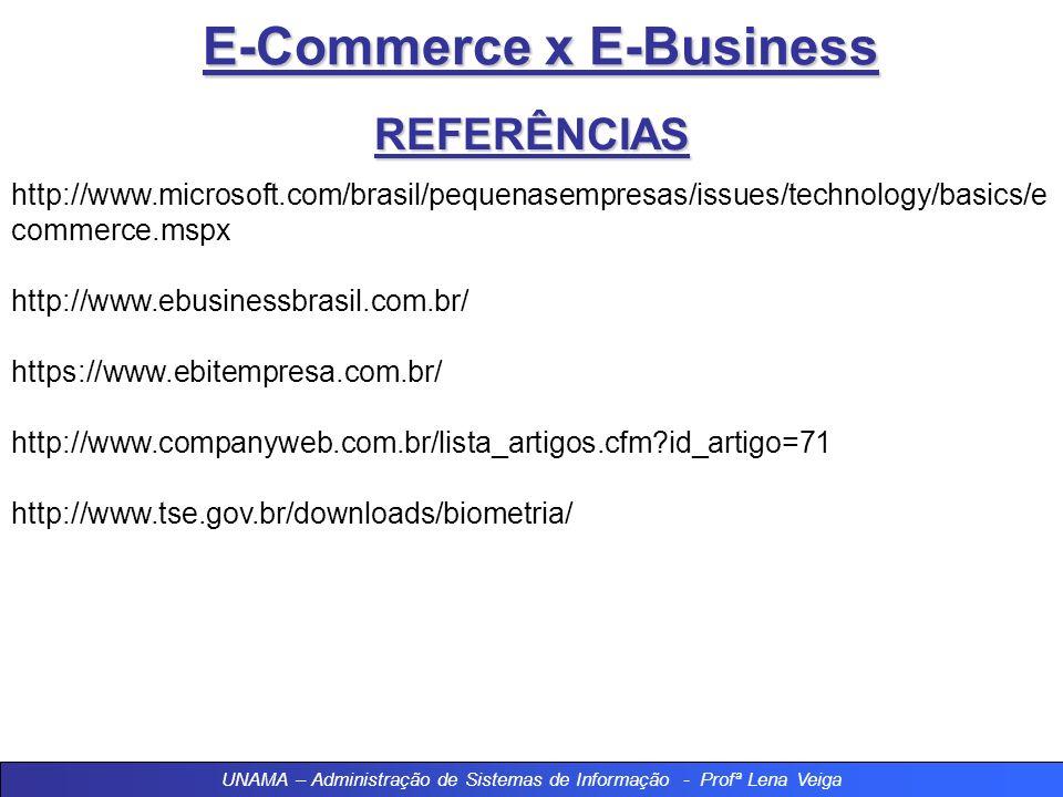 E-Commerce x E-Business REFERÊNCIAS http://www.microsoft.com/brasil/pequenasempresas/issues/technology/basics/e commerce.mspx http://www.ebusinessbrasil.com.br/ https://www.ebitempresa.com.br/ http://www.companyweb.com.br/lista_artigos.cfm?id_artigo=71 http://www.tse.gov.br/downloads/biometria/ UNAMA – Administração de Sistemas de Informação - Profª Lena Veiga