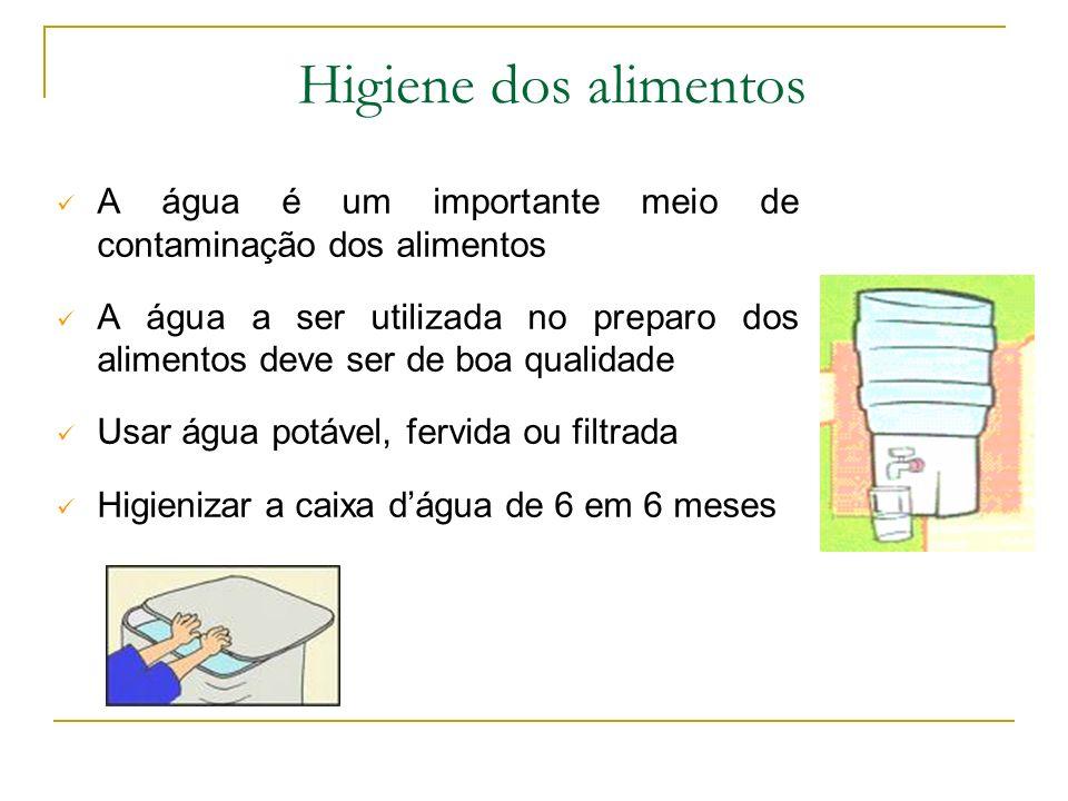 A água é um importante meio de contaminação dos alimentos A água a ser utilizada no preparo dos alimentos deve ser de boa qualidade Usar água potável, fervida ou filtrada Higienizar a caixa dágua de 6 em 6 meses Higiene dos alimentos