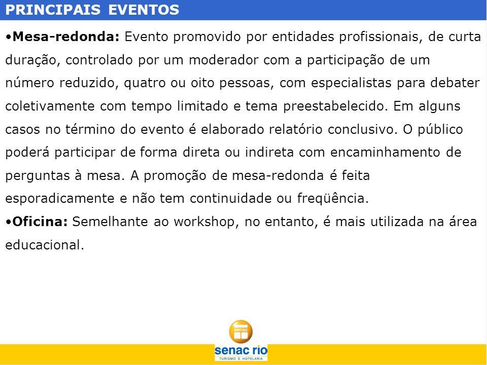 PRINCIPAIS EVENTOS Painel:Discussão e análise informal de um problema ou tema pré- selecionado, de natureza técnica, por um palestrante, técnico ou debatedores, com a participação de um grupo de pessoas.