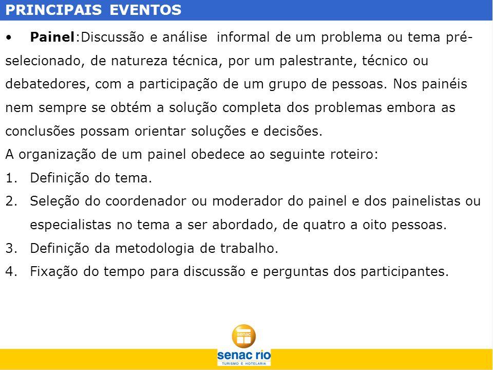 PRINCIPAIS EVENTOS Geralmente o painel é desdobrado em duas etapas, com apresentação e discussão dos painelistas, na primeira e a participação do público na segunda etapa.
