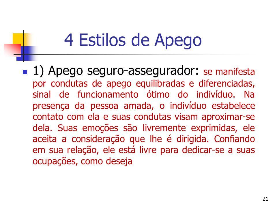 4 Estilos de Apego 2) O apego fugidio-ansioso: revela-se por condutas de evitação e de falta de atenção na presença da pessoa amada.