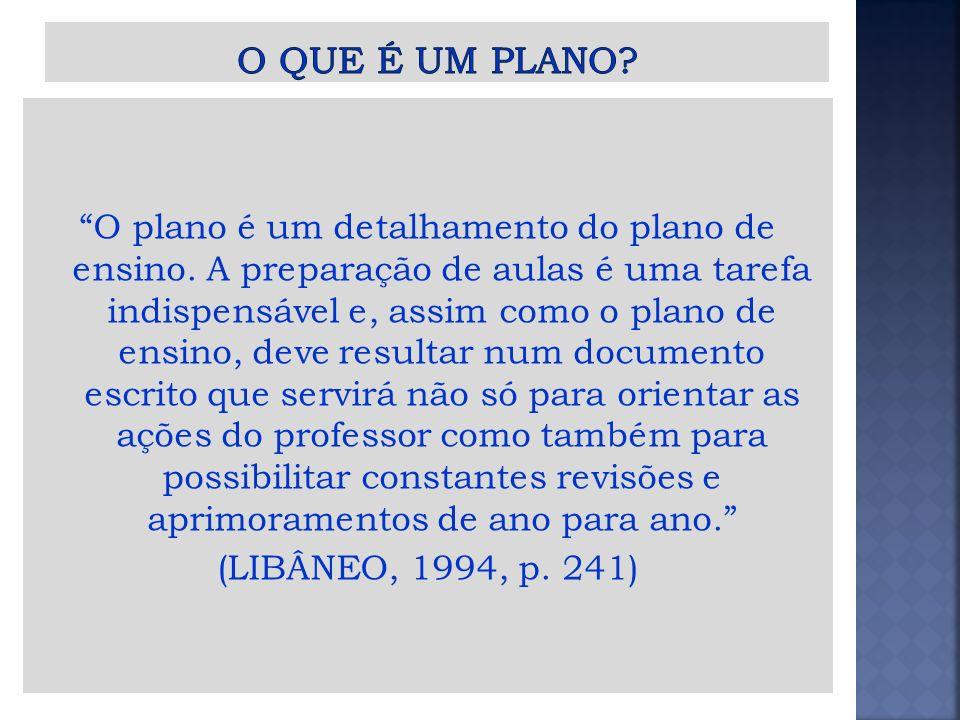 É a previsão do desenvolvimento do conteúdo para uma aula ou conjunto de aulas e tem um caráter bastante específico (LIBÂNEO, 1994, p.