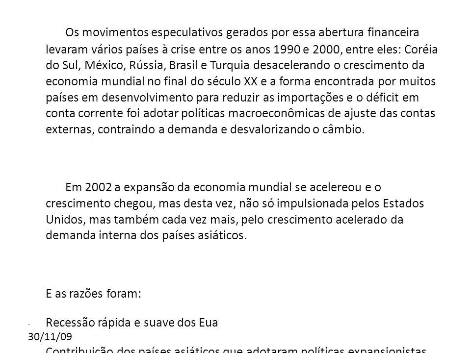 30/11/09 Nos anos 2000 a expansão dos países em desenvolvimento ocorreu com a rara combinação de altas taxas de crescimento do produto com manutenção de superávits em conta corrente.