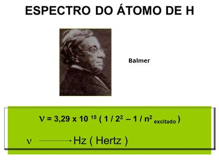 ESPECTRO DO ÁTOMO DE H = 3,29 x 10 15 ( 1 / 2 2 – 1 / n 2 excitado ) Hz ( Hertz ) Balmer.