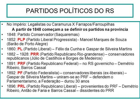 PARTIDOS POLÍTICOS DO RS