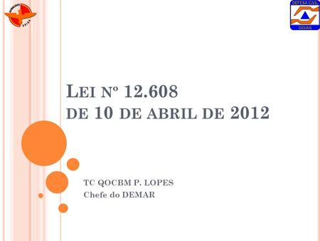 L EI Nº 12.608 DE 10 DE ABRIL DE 2012 TC QOCBM P. LOPES Chefe do DEMAR.