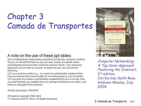 3: Camada de Transporte3a-1 Chapter 3 Camada de Transportes Computer Networking: A Top Down Approach Featuring the Internet, 3 rd edition. Jim Kurose,
