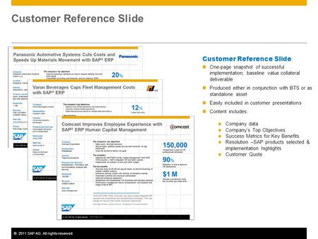©2011 SAP AG. All rights reserved. Customer Reference Slide One-page snapshot of successful implementation; baseline value collateral deliverable Produced.