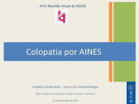 Colopatia por AINES XVIII Reunião Anual do NGHD