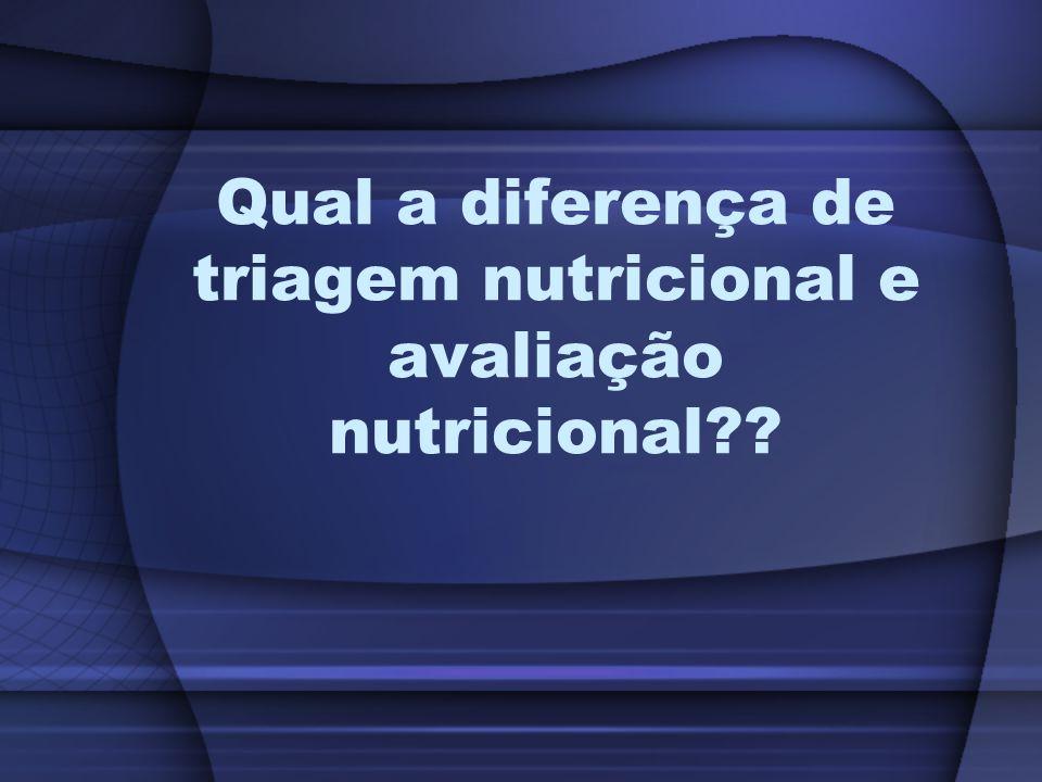 Triagem nutricional de pacientes se refere a apenas detectar a presença de risco de desnutrição.