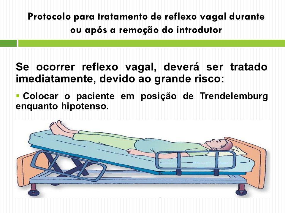 Protocolo para tratamento de reflexo vagal durante ou após a remoção do introdutor