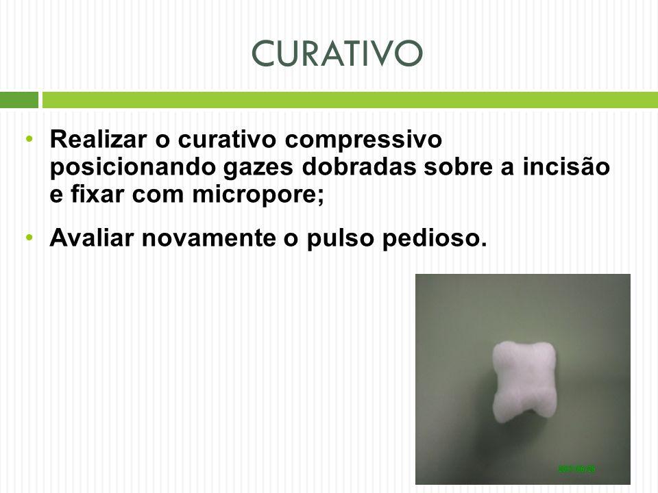 CURATIVO Realizar o curativo compressivo posicionando gazes dobradas sobre a incisão e fixar com micropore;