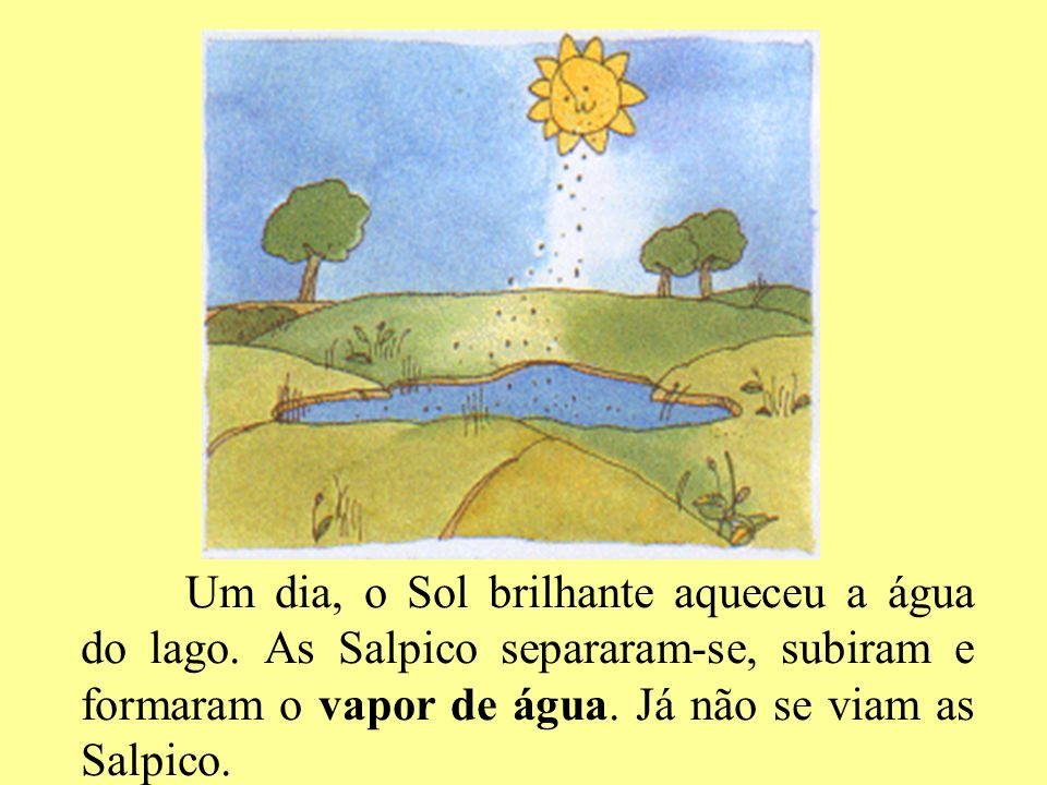 Um dia, o Sol brilhante aqueceu a água do lago