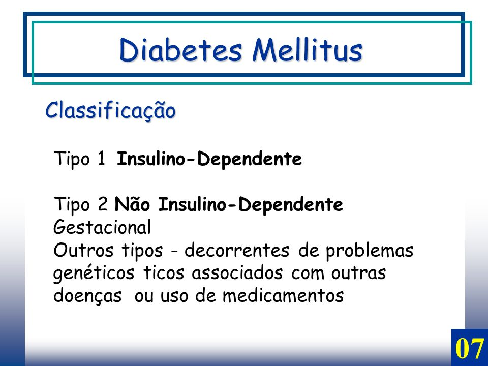 Diabetes Mellitus 07 Classificação Tipo 1 Insulino-Dependente