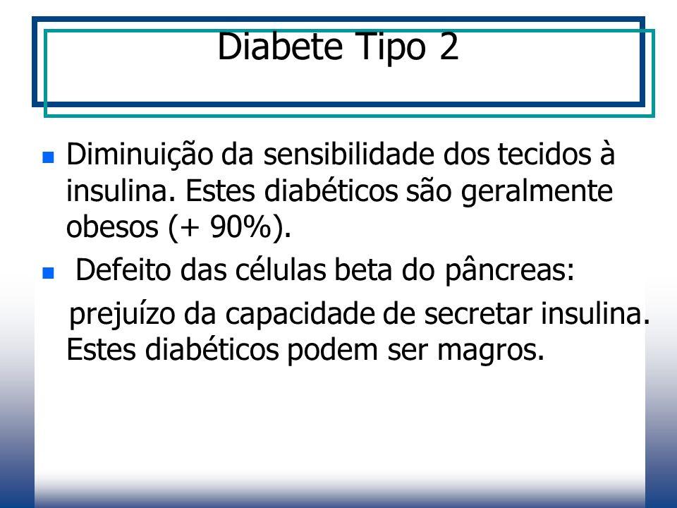 Diabete Tipo 2 Diminuição da sensibilidade dos tecidos à insulina. Estes diabéticos são geralmente obesos (+ 90%).