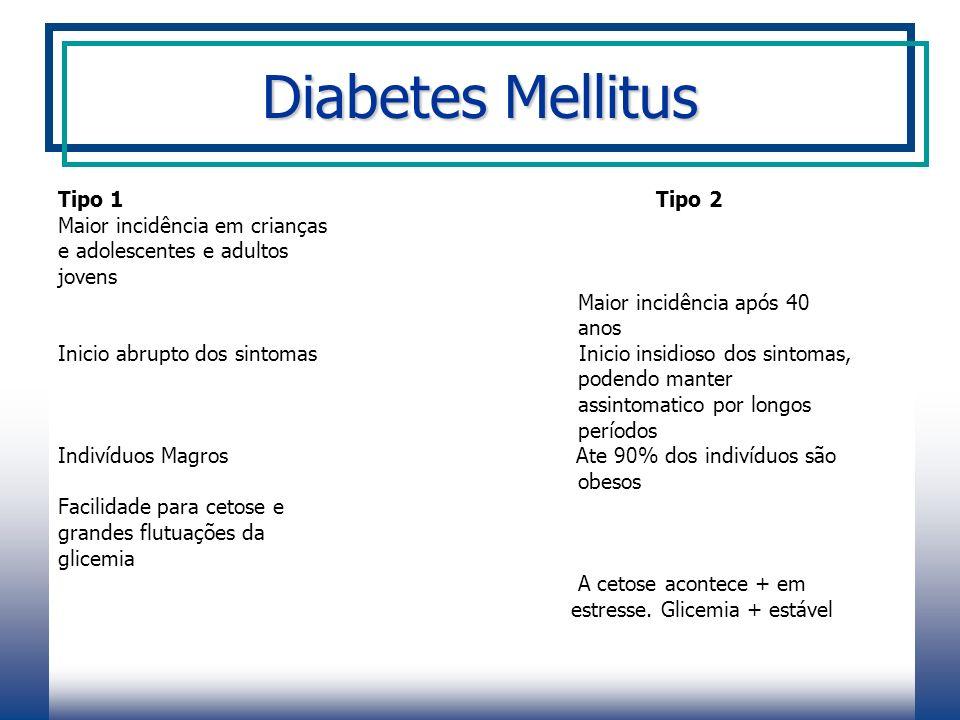 Diabetes Mellitus Tipo 1 Tipo 2 Maior incidência em crianças
