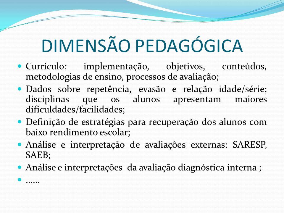 DIMENSÃO PEDAGÓGICA Currículo: implementação, objetivos, conteúdos, metodologias de ensino, processos de avaliação;