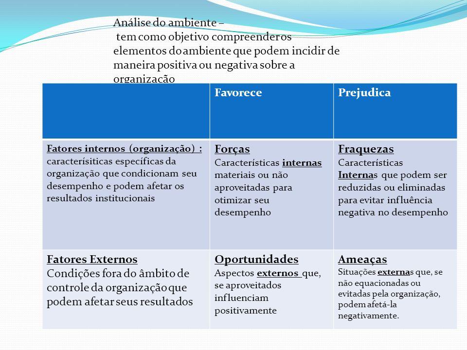Análise do ambiente – tem como objetivo compreender os elementos do ambiente que podem incidir de maneira positiva ou negativa sobre a organização