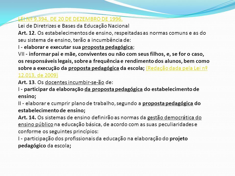 LEI Nº 9.394, DE 20 DE DEZEMBRO DE 1996. Lei de Diretrizes e Bases da Educação Nacional.