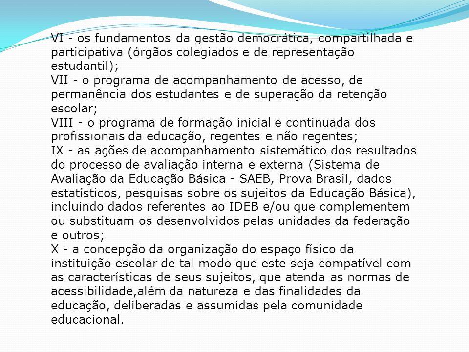 VI - os fundamentos da gestão democrática, compartilhada e participativa (órgãos colegiados e de representação estudantil); VII - o programa de acompanhamento de acesso, de permanência dos estudantes e de superação da retenção escolar; VIII - o programa de formação inicial e continuada dos profissionais da educação, regentes e não regentes; IX - as ações de acompanhamento sistemático dos resultados do processo de avaliação interna e externa (Sistema de Avaliação da Educação Básica - SAEB, Prova Brasil, dados estatísticos, pesquisas sobre os sujeitos da Educação Básica), incluindo dados referentes ao IDEB e/ou que complementem ou substituam os desenvolvidos pelas unidades da federação e outros; X - a concepção da organização do espaço físico da instituição escolar de tal modo que este seja compatível com as características de seus sujeitos, que atenda as normas de acessibilidade,além da natureza e das finalidades da educação, deliberadas e assumidas pela comunidade educacional.