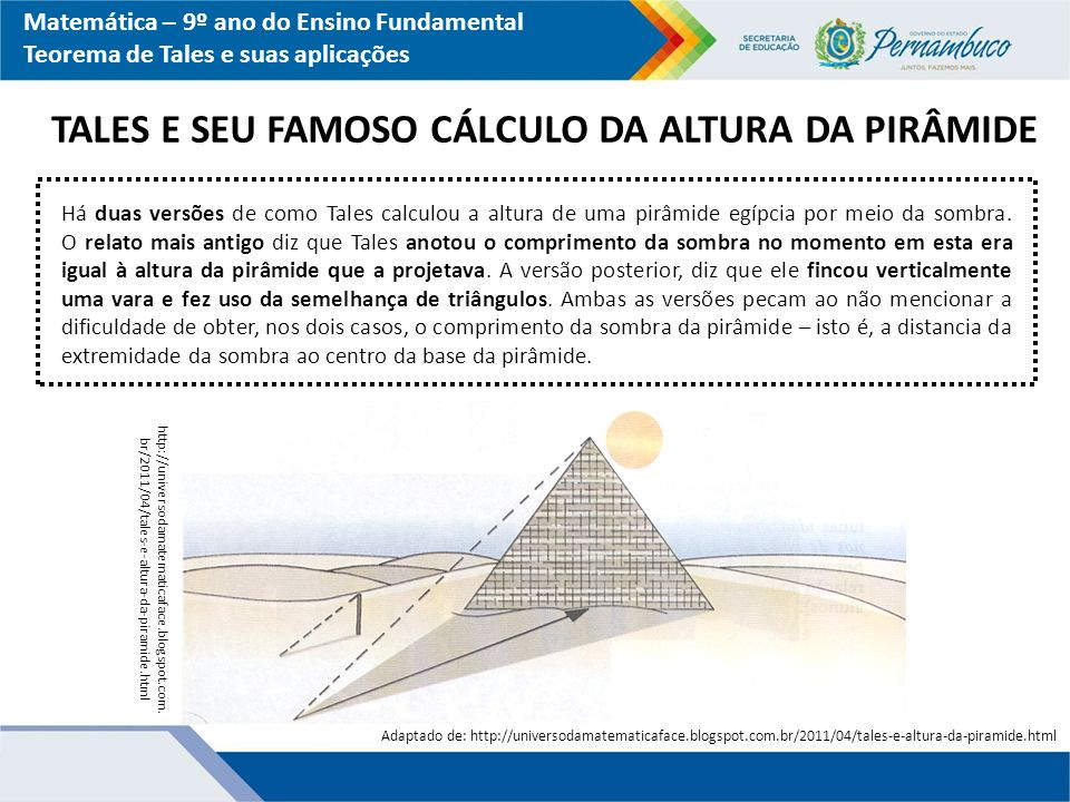 TALES E SEU FAMOSO CÁLCULO DA ALTURA DA PIRÂMIDE