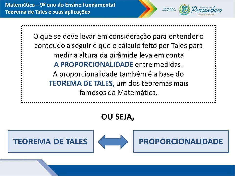 TEOREMA DE TALES PROPORCIONALIDADE